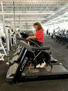 Woman and guide dog at the gym in Ontario.